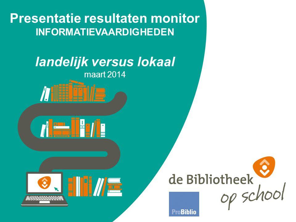 Presentatie resultaten monitor INFORMATIEVAARDIGHEDEN landelijk versus lokaal maart 2014