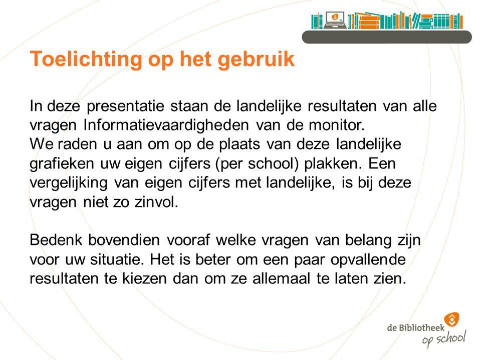 In deze presentatie staan de landelijke resultaten van alle vragen Informatievaardigheden van de monitor.