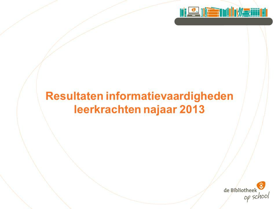 Resultaten informatievaardigheden leerkrachten najaar 2013