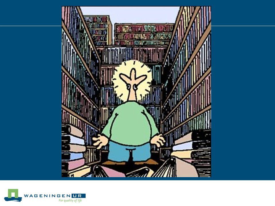 Programma 08.30 – 09.15 uur: Informatiebronnen, bibliotheek Wageningen UR 09.15 – 09.30 uur: Pauze 09.30 – 10.30 uur: oefeningen, zoekstrategieën, citeren en refereren 10.30 – 12.15 uur: Practicum (BlackBoard) en zoeken op eigen onderwerp