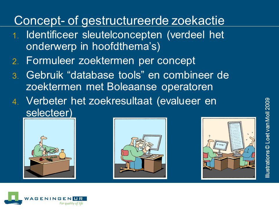 Concept- of gestructureerde zoekactie 1. Identificeer sleutelconcepten (verdeel het onderwerp in hoofdthema's) 2. Formuleer zoektermen per concept 3.