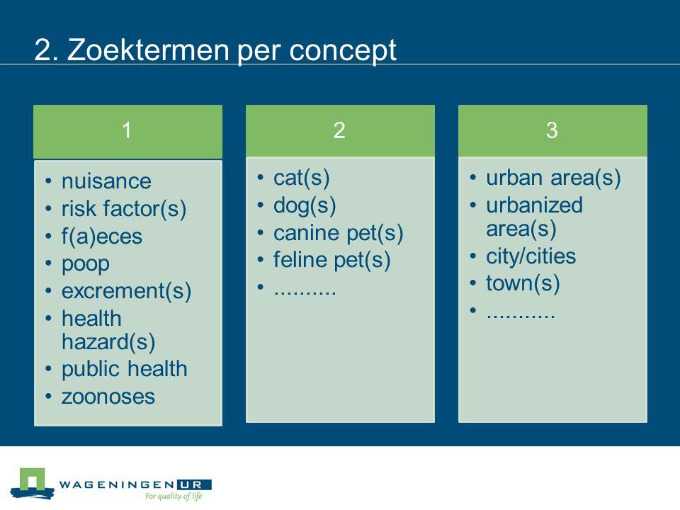 2. Zoektermen per concept 1 nuisance risk factor(s) f(a)eces poop excrement(s) health hazard(s) public health zoonoses 2 cat(s) dog(s) canine pet(s) f