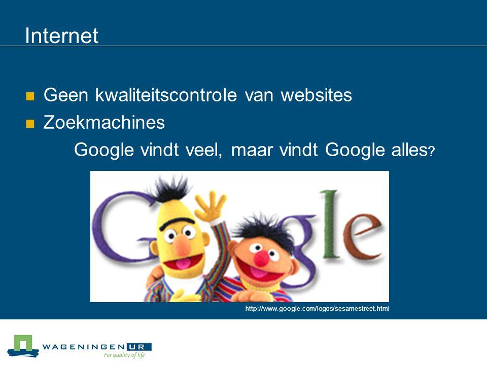 Internet Geen kwaliteitscontrole van websites Zoekmachines Google vindt veel, maar vindt Google alles ? http://www.google.com/logos/sesamestreet.html