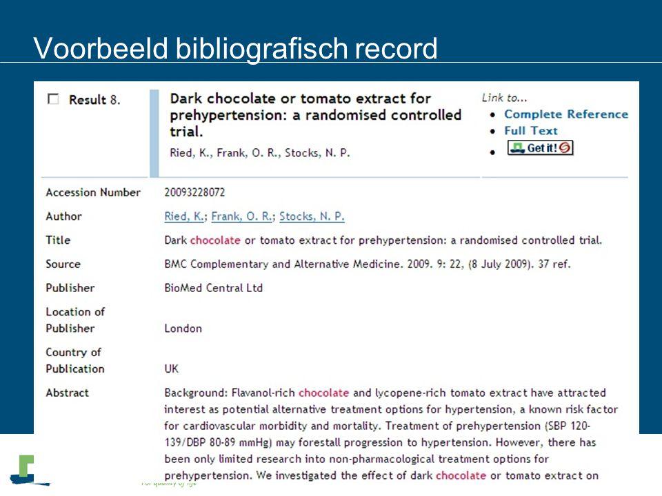 Voorbeeld bibliografisch record