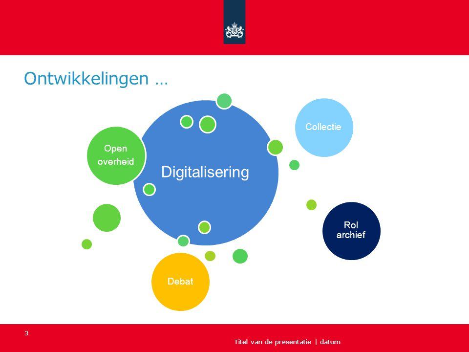 Titel van de presentatie | datum 3 Ontwikkelingen … Digitalisering Open overheid Collectie Rol archief Debat