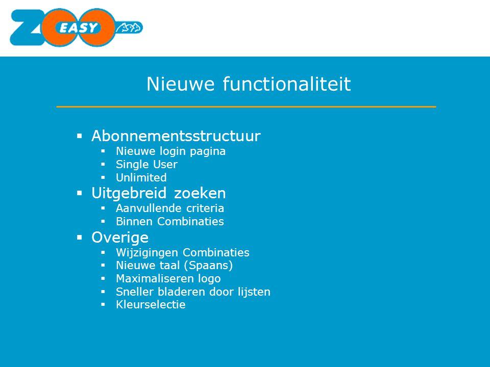 Nieuwe functionaliteit  Abonnementsstructuur  Nieuwe login pagina  Single User  Unlimited  Uitgebreid zoeken  Aanvullende criteria  Binnen Comb