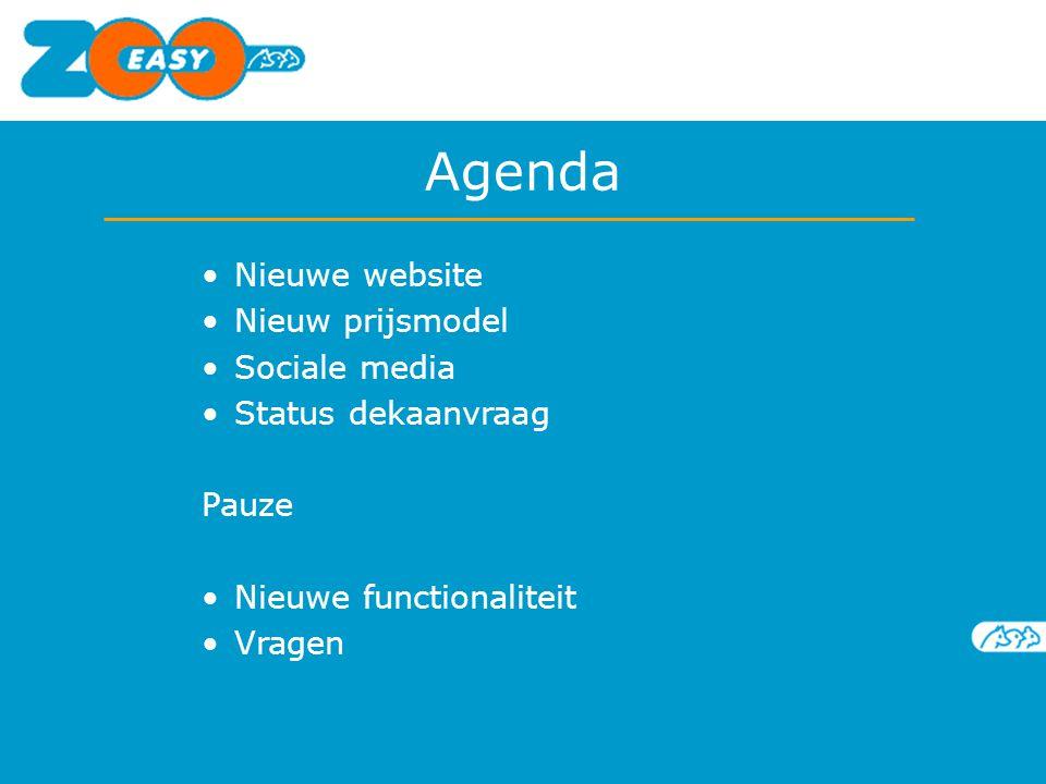Nieuwe website Nieuw prijsmodel Sociale media Status dekaanvraag Pauze Nieuwe functionaliteit Vragen Agenda