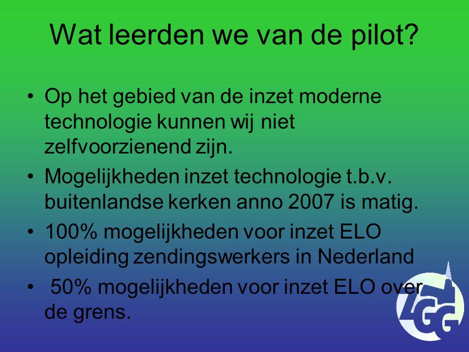 Wat leerden we van de pilot.