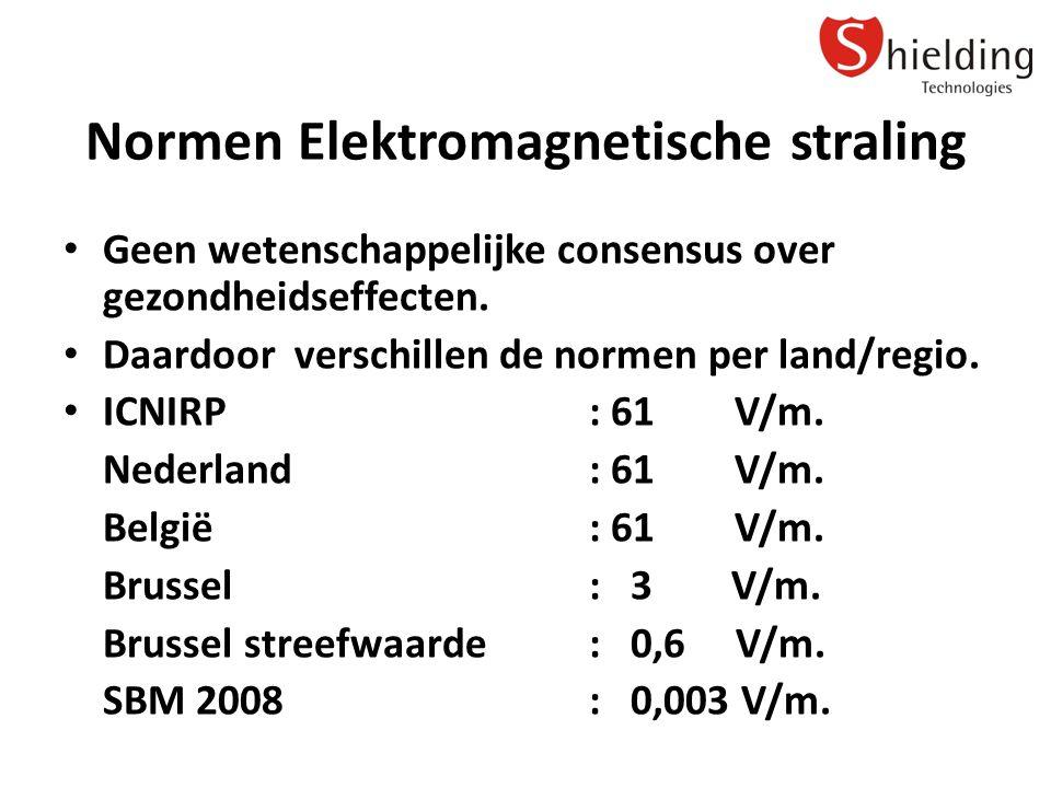 Normen Elektromagnetische straling Geen wetenschappelijke consensus over gezondheidseffecten.