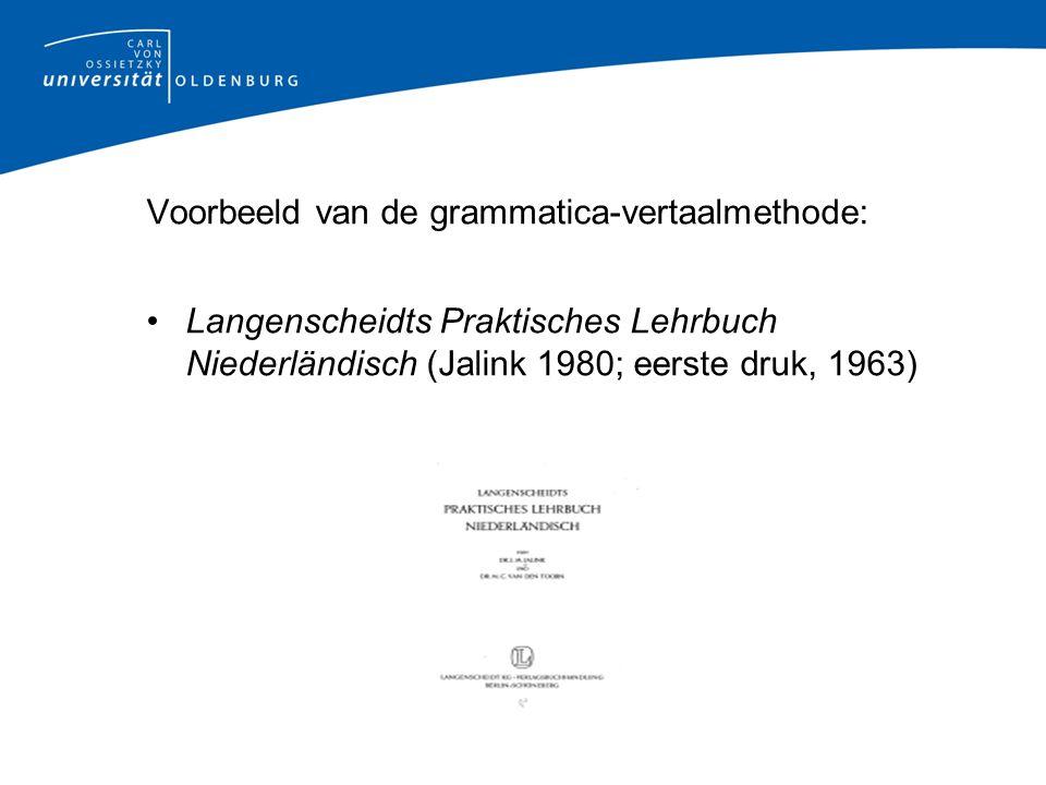 Voorbeeld van de grammatica-vertaalmethode: Langenscheidts Praktisches Lehrbuch Niederländisch (Jalink 1980; eerste druk, 1963)