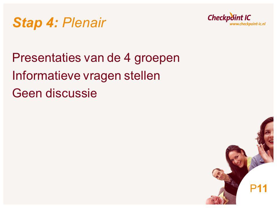 11 Stap 4: Plenair Presentaties van de 4 groepen Informatieve vragen stellen Geen discussie P