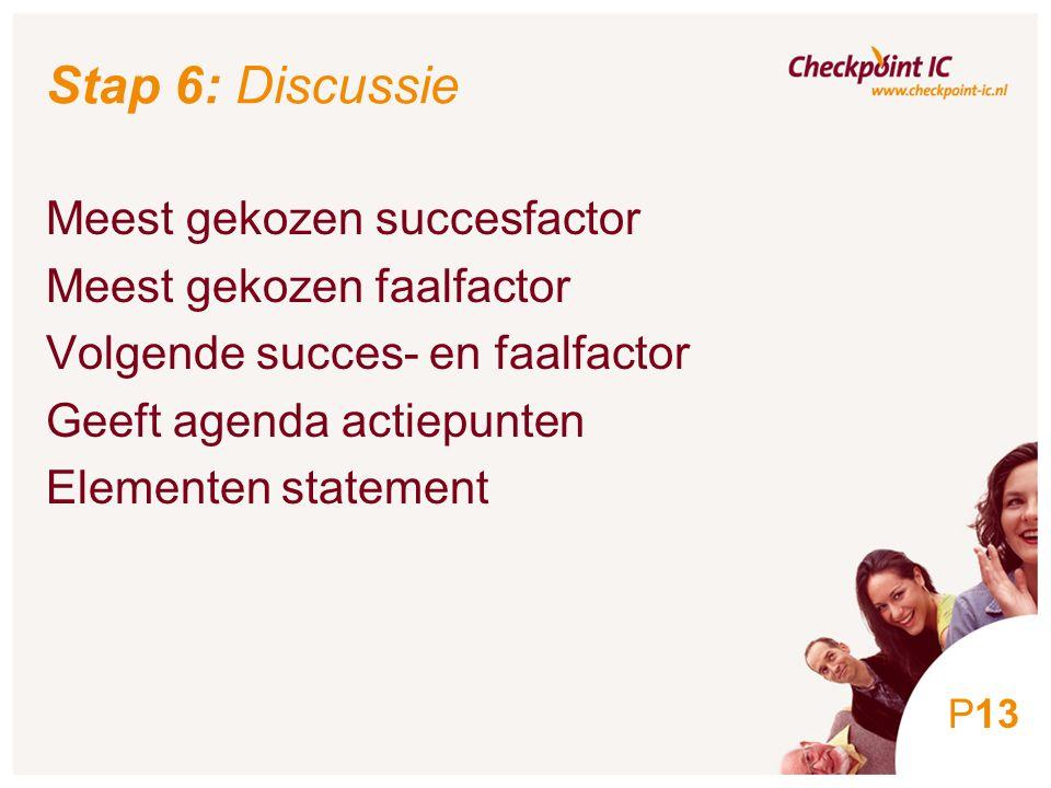 13 Stap 6: Discussie Meest gekozen succesfactor Meest gekozen faalfactor Volgende succes- en faalfactor Geeft agenda actiepunten Elementen statement P