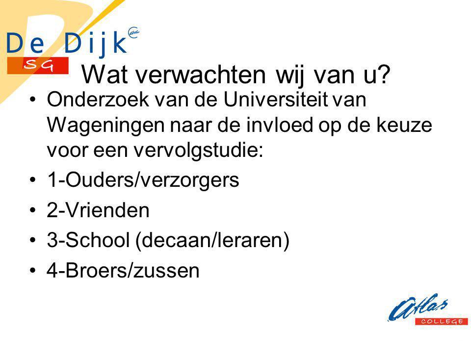 Wat verwachten wij van u? Onderzoek van de Universiteit van Wageningen naar de invloed op de keuze voor een vervolgstudie: 1-Ouders/verzorgers 2-Vrien