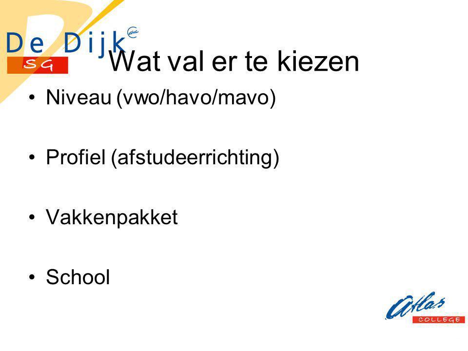 Wat val er te kiezen Niveau (vwo/havo/mavo) Profiel (afstudeerrichting) Vakkenpakket School