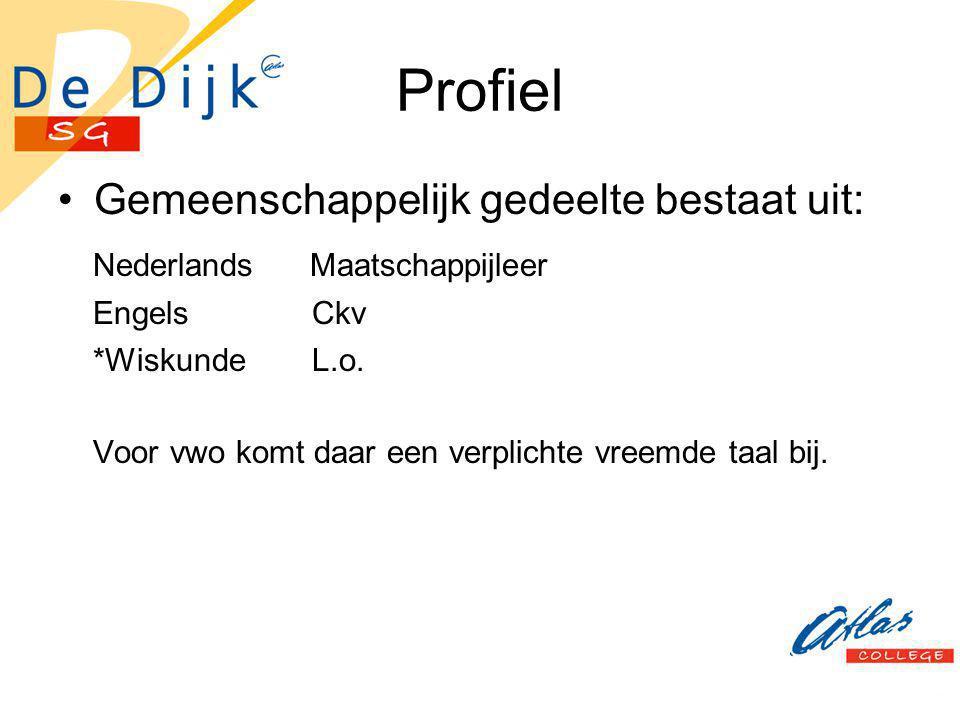 Profiel Gemeenschappelijk gedeelte bestaat uit: Nederlands Maatschappijleer Engels Ckv *Wiskunde L.o. Voor vwo komt daar een verplichte vreemde taal b