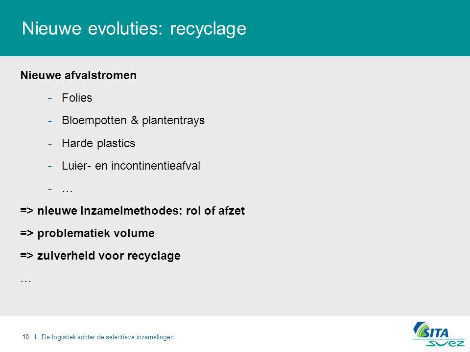 10 I De logistiek achter de selectieve inzamelingen Nieuwe evoluties: recyclage Nieuwe afvalstromen -Folies -Bloempotten & plantentrays -Harde plastics -Luier- en incontinentieafval -…-… => nieuwe inzamelmethodes: rol of afzet => problematiek volume => zuiverheid voor recyclage …