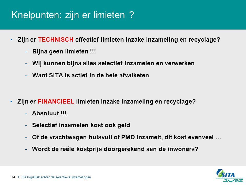 14 I De logistiek achter de selectieve inzamelingen Knelpunten: zijn er limieten .