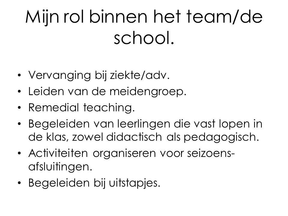 Mijn rol binnen het team/de school. Vervanging bij ziekte/adv. Leiden van de meidengroep. Remedial teaching. Begeleiden van leerlingen die vast lopen