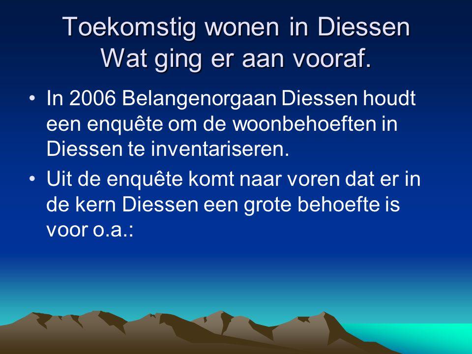 Toekomstig wonen in Diessen Wat ging er aan vooraf. In 2006 Belangenorgaan Diessen houdt een enquête om de woonbehoeften in Diessen te inventariseren.