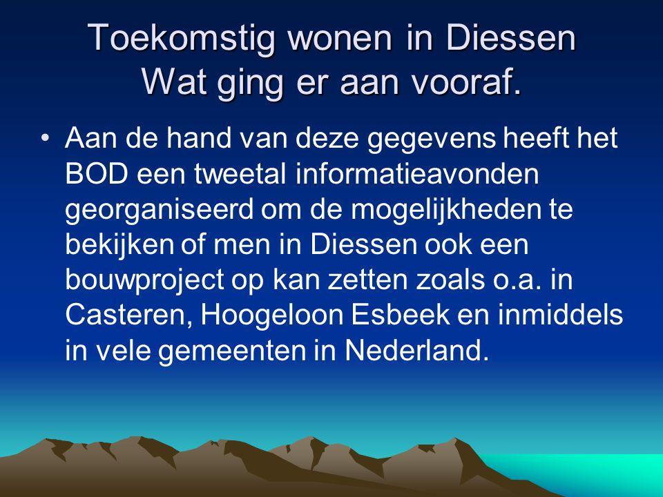 Toekomstig wonen in Diessen Wat ging er aan vooraf. Aan de hand van deze gegevens heeft het BOD een tweetal informatieavonden georganiseerd om de moge