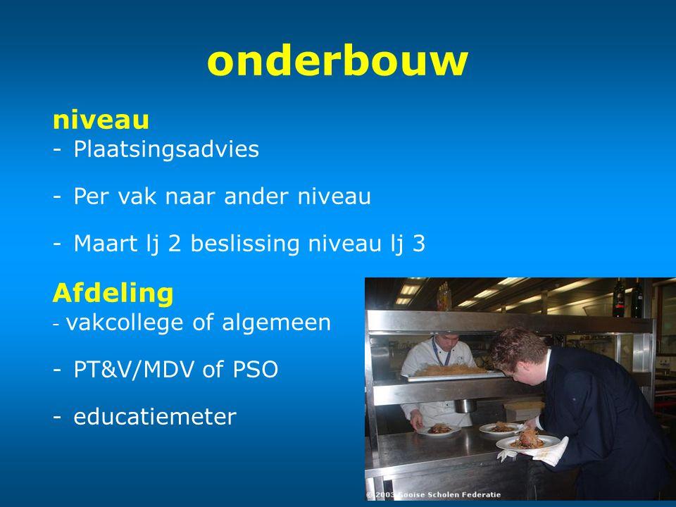 onderbouw niveau -Plaatsingsadvies -Per vak naar ander niveau -Maart lj 2 beslissing niveaulj 3 Afdeling - vakcollege of algemeen -PT&V/MDV of PSO -ed
