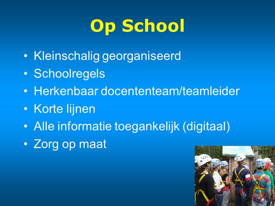 Op School Kleinschalig georganiseerd Schoolregels Herkenbaar docententeam/teamleider Korte lijnen Alle informatie toegankelijk (digitaal) Zorg op maat