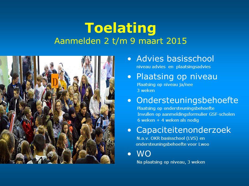 Toelating Aanmelden 2 t/m 9 maart 2015 Advies basisschool niveau advies en plaatsingsadvies Plaatsing op niveau Plaatsing op niveau ja/nee 3 weken Ond