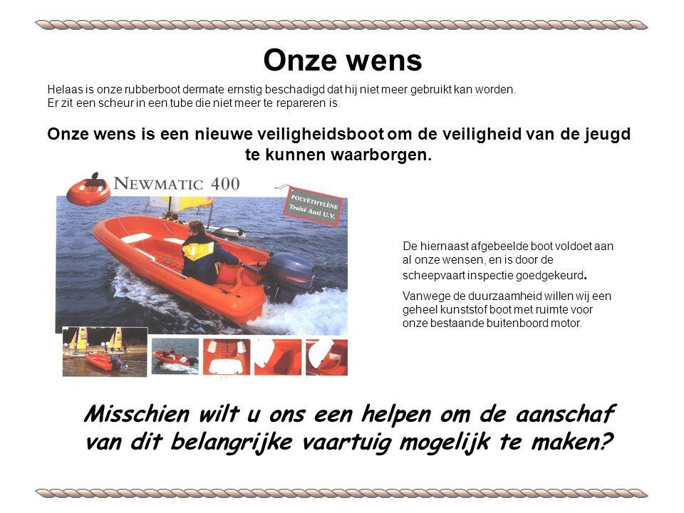 Helaas is onze rubberboot dermate ernstig beschadigd dat hij niet meer gebruikt kan worden.