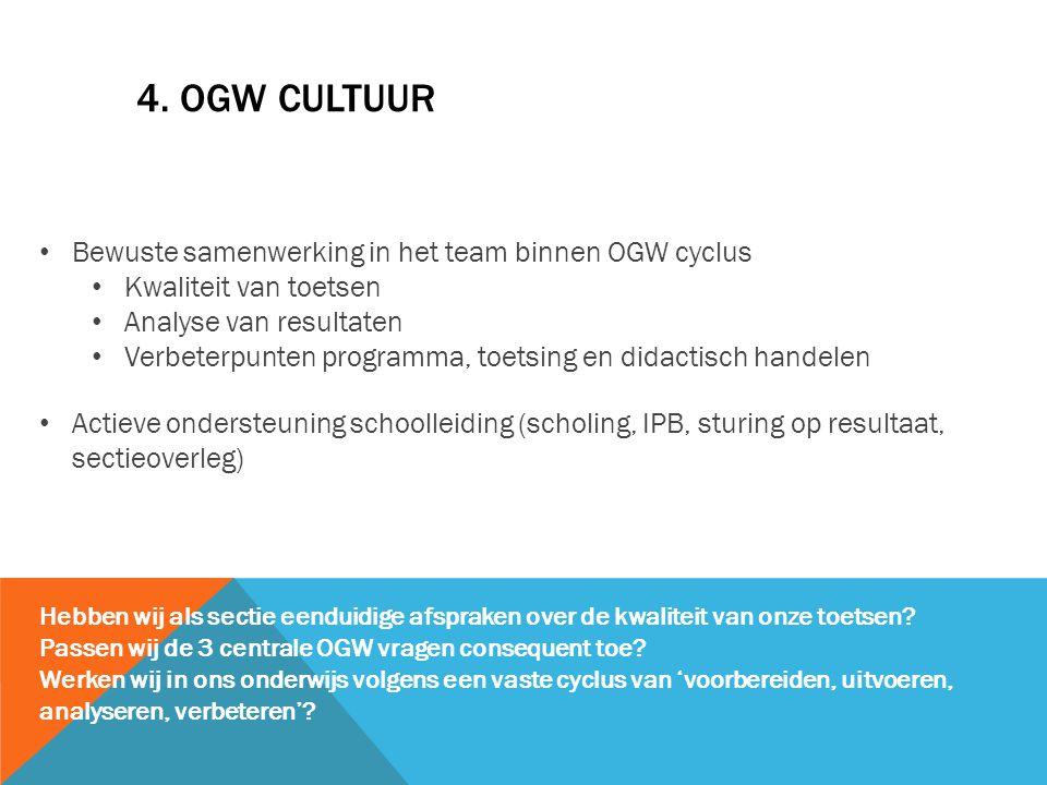 4. OGW CULTUUR Bewuste samenwerking in het team binnen OGW cyclus Kwaliteit van toetsen Analyse van resultaten Verbeterpunten programma, toetsing en d