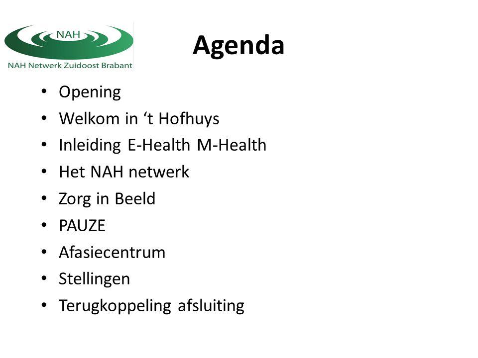 Agenda Opening Welkom in 't Hofhuys Inleiding E-Health M-Health Het NAH netwerk Zorg in Beeld PAUZE Afasiecentrum Stellingen Terugkoppeling afsluiting
