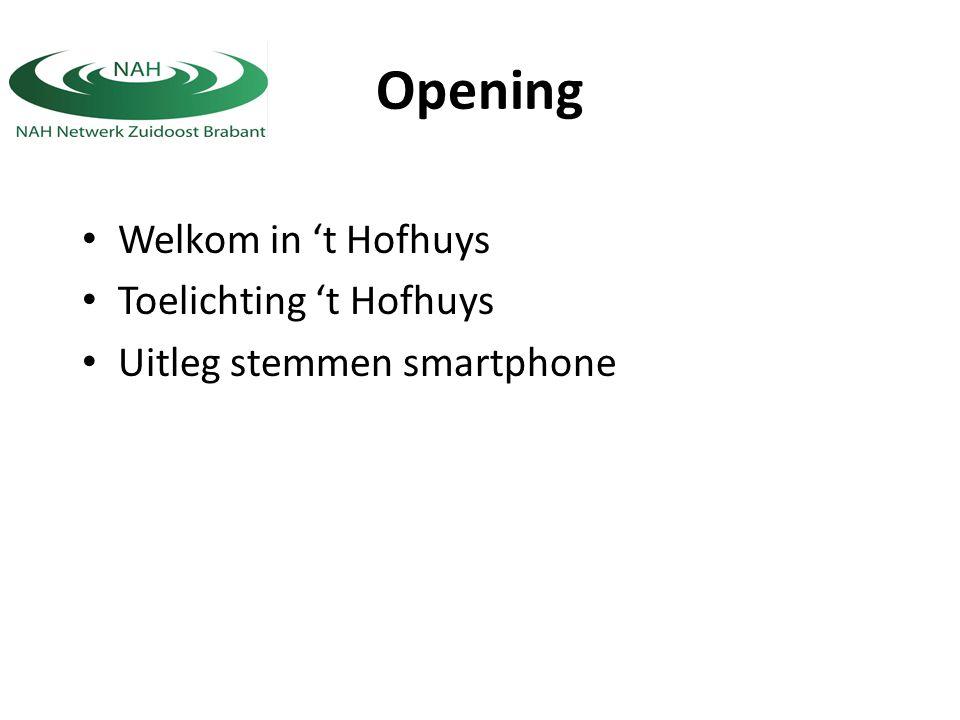 Opening Welkom in 't Hofhuys Toelichting 't Hofhuys Uitleg stemmen smartphone