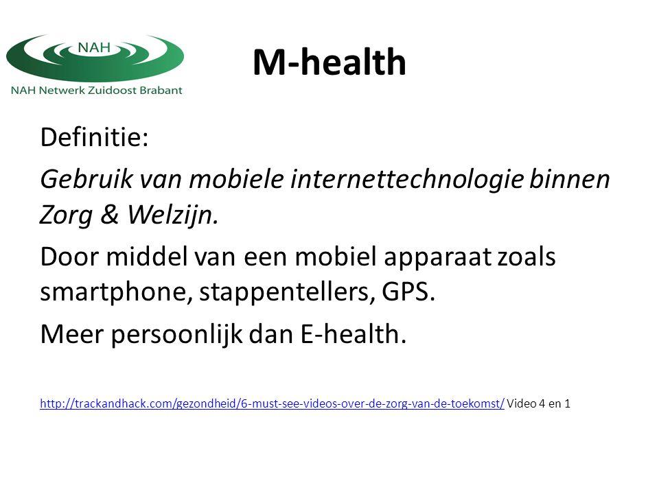Definitie: Gebruik van mobiele internettechnologie binnen Zorg & Welzijn. Door middel van een mobiel apparaat zoals smartphone, stappentellers, GPS. M