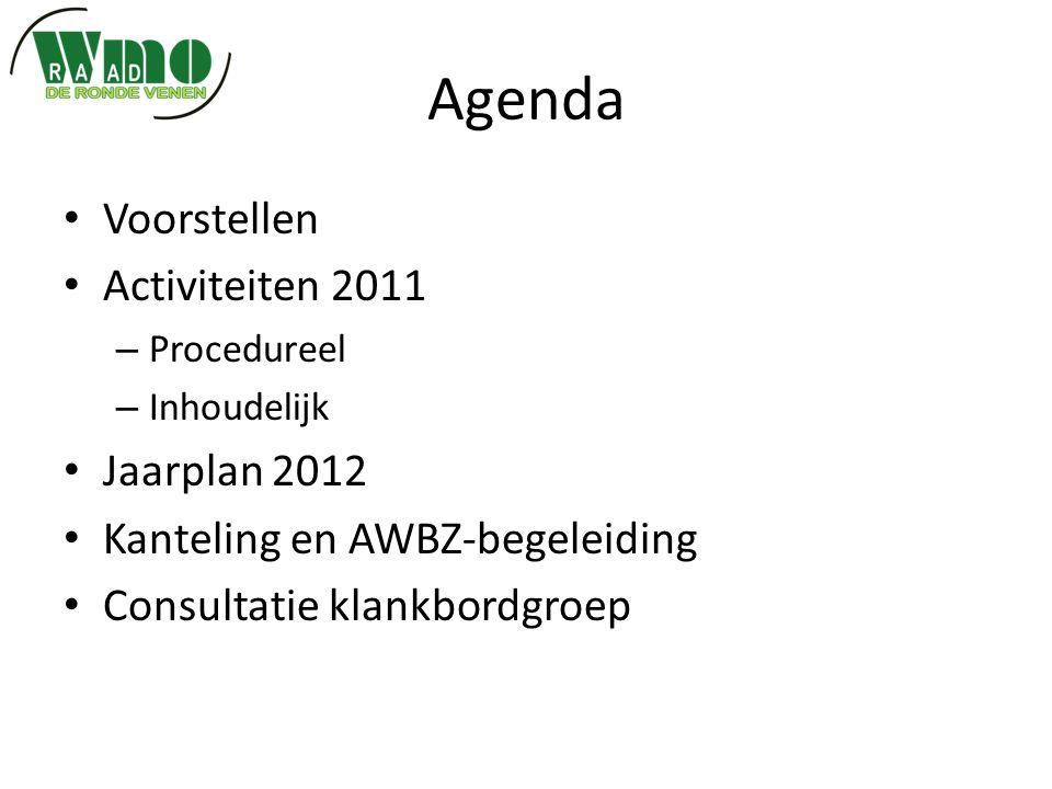 Agenda Voorstellen Activiteiten 2011 – Procedureel – Inhoudelijk Jaarplan 2012 Kanteling en AWBZ-begeleiding Consultatie klankbordgroep