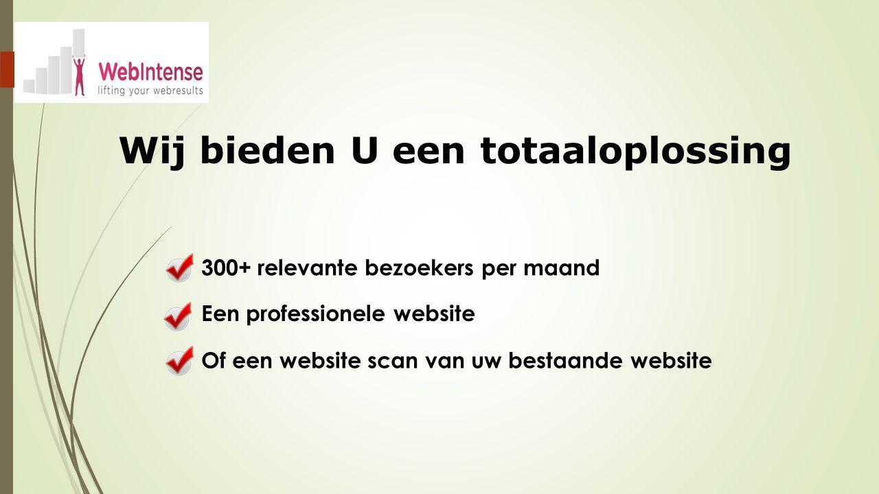Wij bieden U een totaaloplossing Een professionele website 300+ relevante bezoekers per maand Of een website scan van uw bestaande website