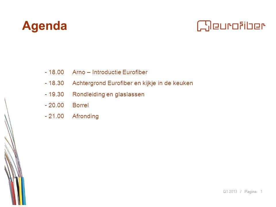 / Pagina Agenda Q1 20131 - 18.00Arno – Introductie Eurofiber - 18.30 Achtergrond Eurofiber en kijkje in de keuken - 19.30 Rondleiding en glaslassen - 20.00 Borrel - 21.00Afronding
