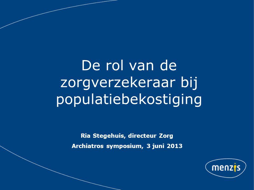 Proeftuin populatiemanagement Duurzaam partnership met Zorggroep Arnhem Samen investeren in toekomstbestendige zorg in de regio Arnhem Gezondheid van de populatie als geheel en op individueel niveau minimaal handhaven of zelfs verbeteren.