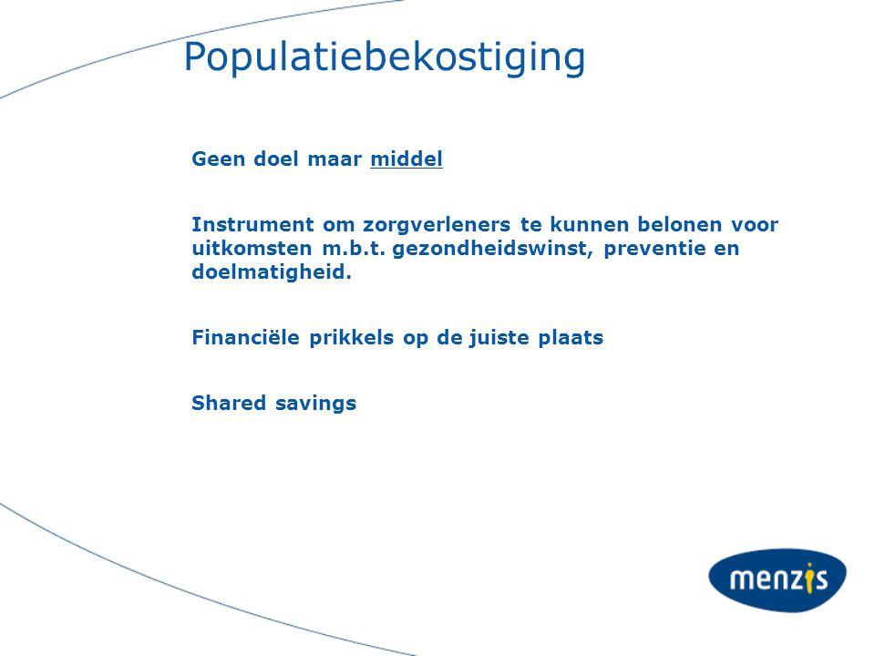 Populatiebekostiging Geen doel maar middel Instrument om zorgverleners te kunnen belonen voor uitkomsten m.b.t. gezondheidswinst, preventie en doelmat
