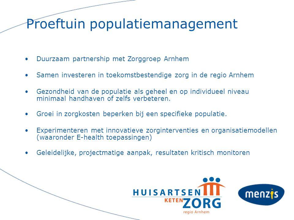Proeftuin populatiemanagement Duurzaam partnership met Zorggroep Arnhem Samen investeren in toekomstbestendige zorg in de regio Arnhem Gezondheid van