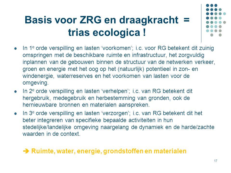 17 Basis voor ZRG en draagkracht = trias ecologica ! In 1 e orde verspilling en lasten 'voorkomen'; i.c. voor RG betekent dit zuinig omspringen met de