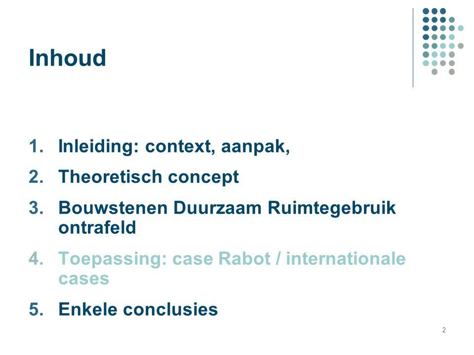 2 Inhoud 1.Inleiding: context, aanpak, 2.Theoretisch concept 3.Bouwstenen Duurzaam Ruimtegebruik ontrafeld 4.Toepassing: case Rabot / internationale c
