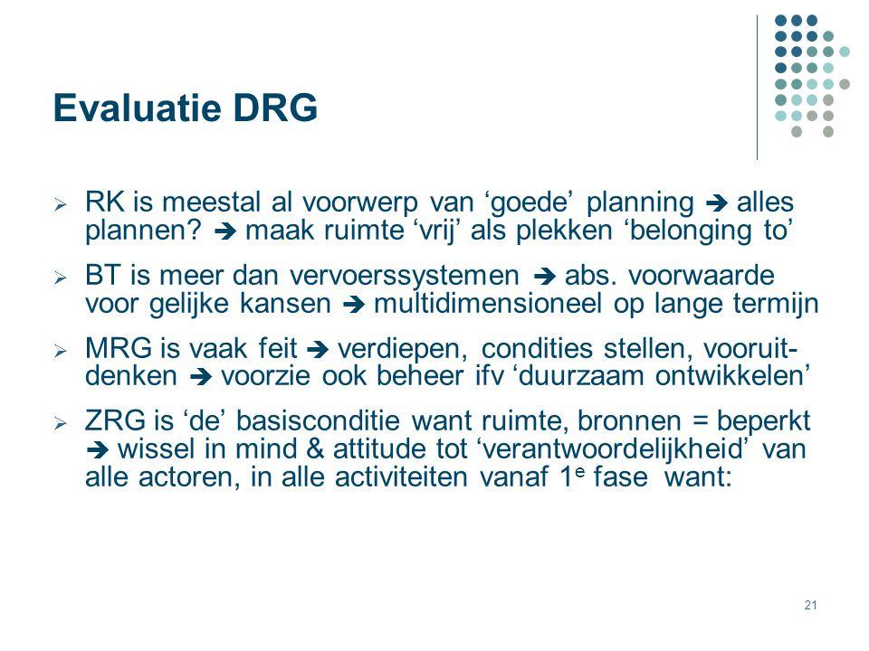 21 Evaluatie DRG  RK is meestal al voorwerp van 'goede' planning  alles plannen?  maak ruimte 'vrij' als plekken 'belonging to'  BT is meer dan ve