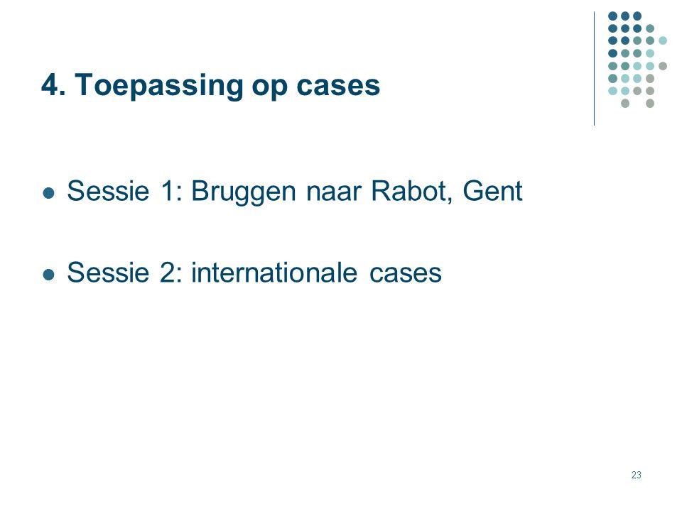 23 Sessie 1: Bruggen naar Rabot, Gent Sessie 2: internationale cases 4. Toepassing op cases