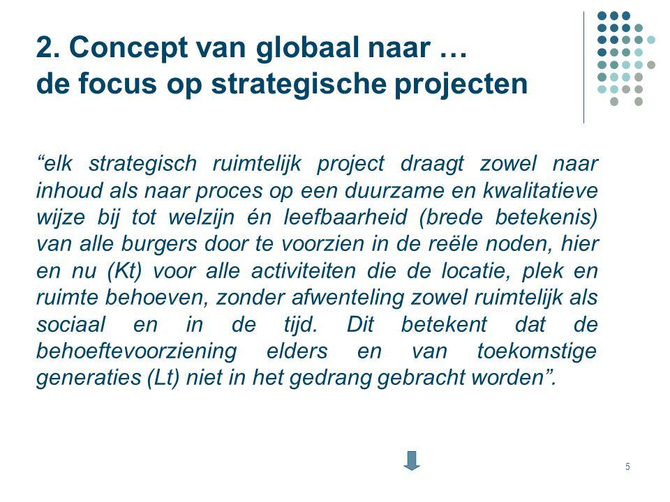 """5 2. Concept van globaal naar … de focus op strategische projecten """"elk strategisch ruimtelijk project draagt zowel naar inhoud als naar proces op een"""