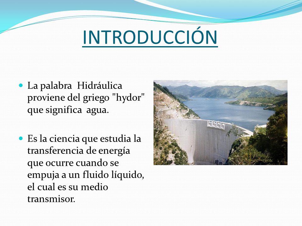 INTRODUCCIÓN La palabra Hidráulica proviene del griego