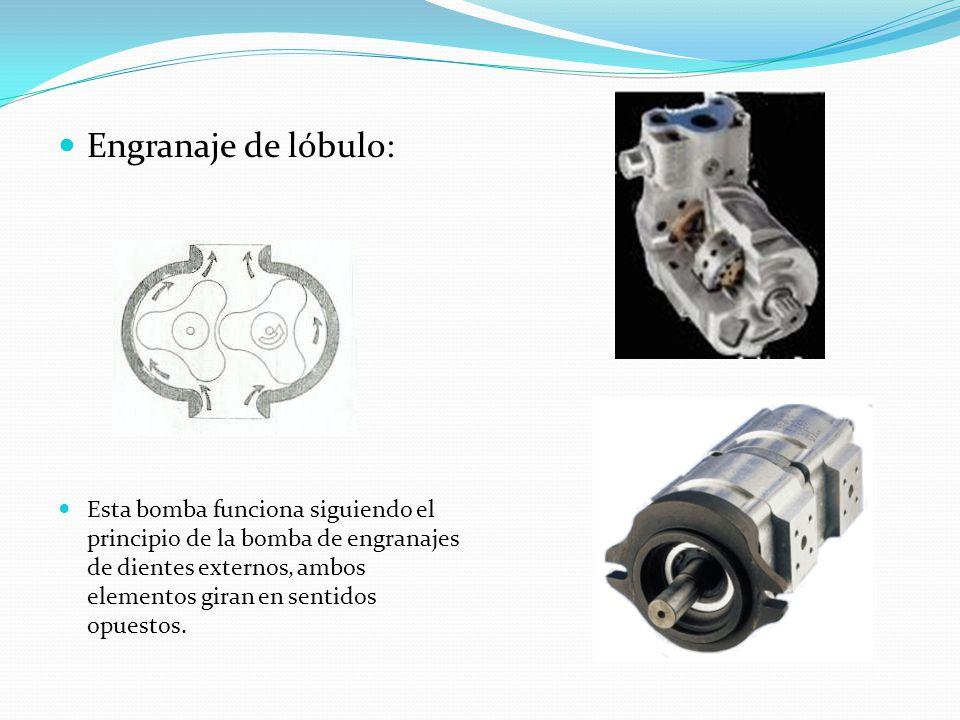 Engranaje de lóbulo: Esta bomba funciona siguiendo el principio de la bomba de engranajes de dientes externos, ambos elementos giran en sentidos opues
