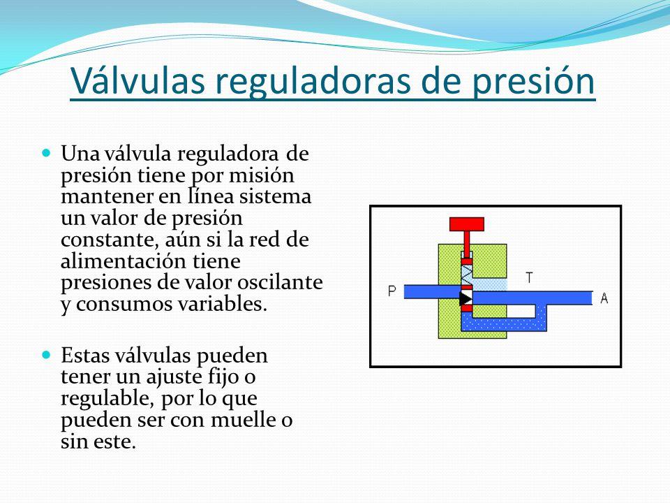 Válvulas reguladoras de presión Una válvula reguladora de presión tiene por misión mantener en línea sistema un valor de presión constante, aún si la