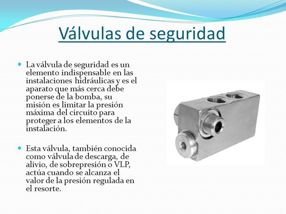 Válvulas de seguridad La válvula de seguridad es un elemento indispensable en las instalaciones hidráulicas y es el aparato que más cerca debe ponerse