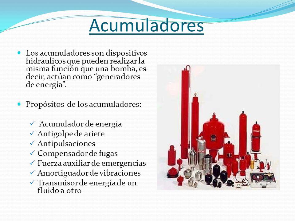 """Acumuladores Los acumuladores son dispositivos hidráulicos que pueden realizar la misma función que una bomba, es decir, actúan como """"generadores de e"""