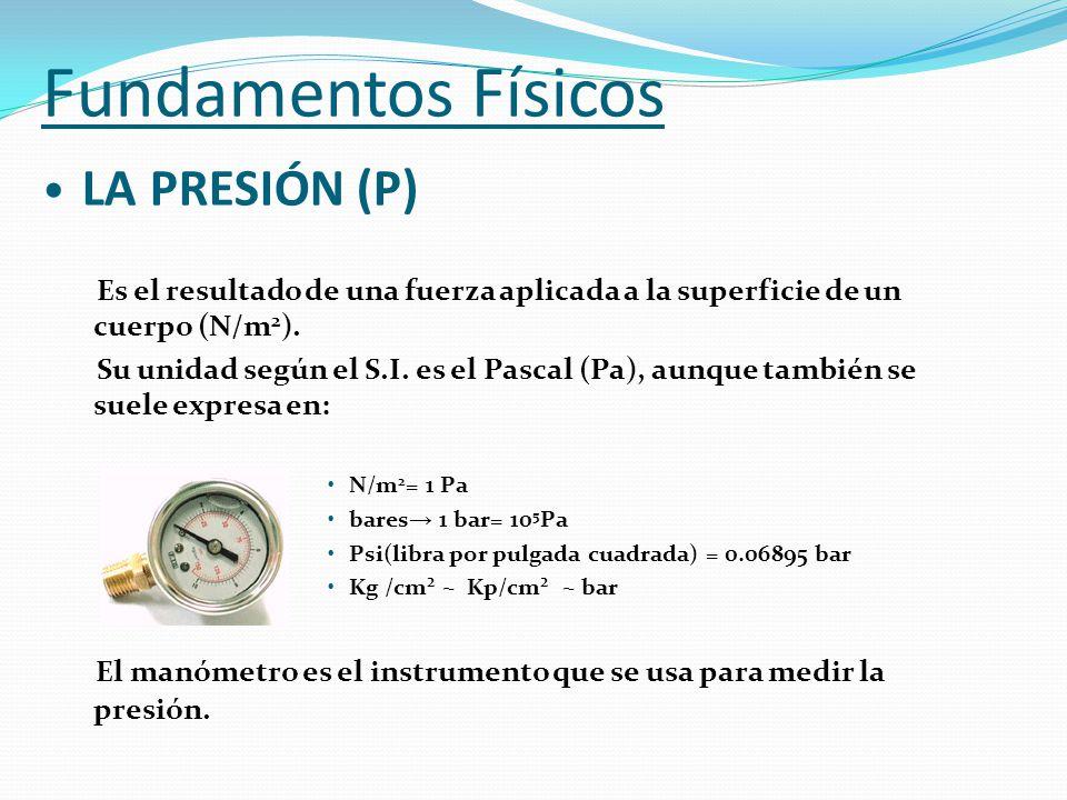 Fundamentos Físicos LA PRESIÓN (P) Es el resultado de una fuerza aplicada a la superficie de un cuerpo (N/m 2 ). Su unidad según el S.I. es el Pascal
