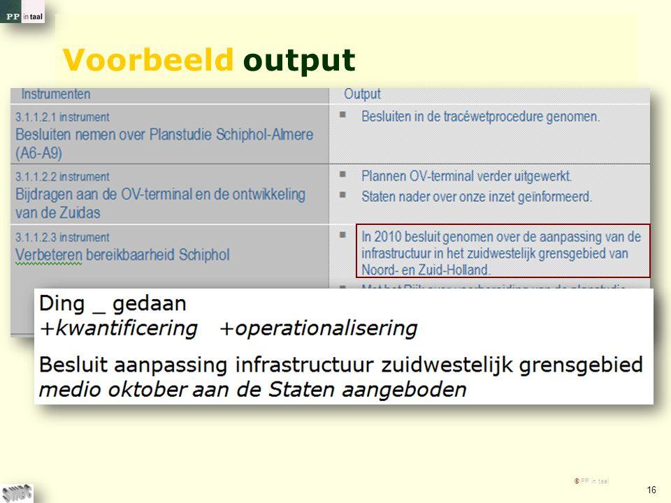 Voorbeeld output © PP in taal 16
